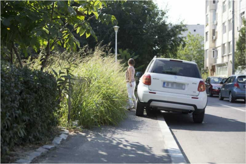 alei auto in zona rezidentiala imagine cu masina parcata pe trotuar si vegetatie neintretinuta pe o alee intre blocuri