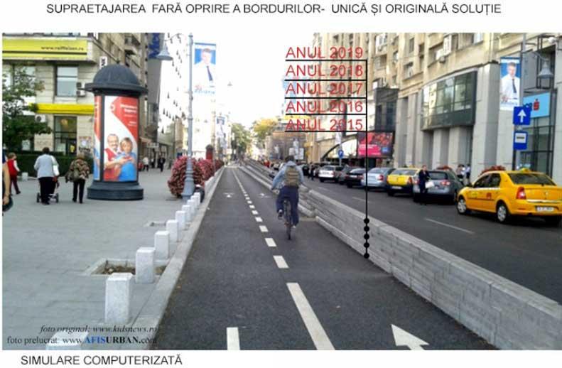 borduri supraetajate si piste de biciclete gresite imagine cu pista de biciclete de pe calea victoriei