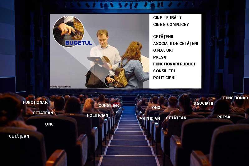 furtul la romani poza cu oameni in sala de cinema care se uita la un film cu un hot de portofele