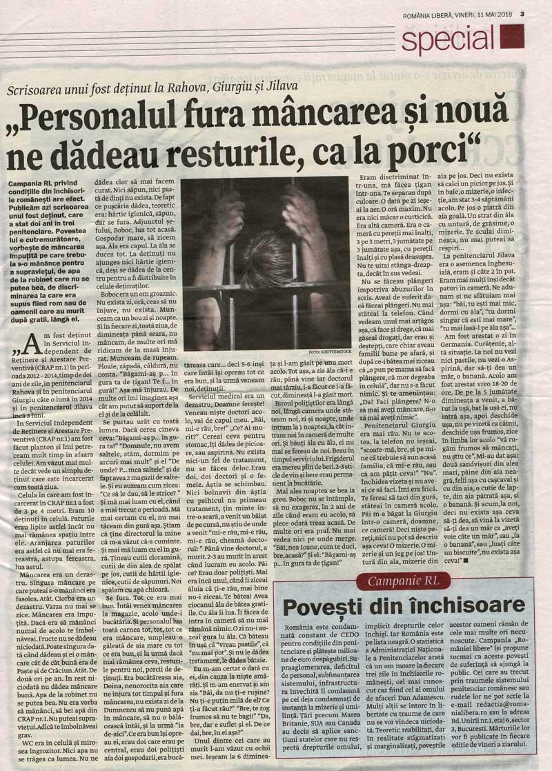 pagina de ziar scanata despre inchisorile din romania