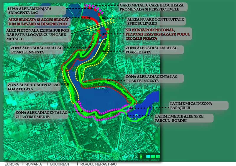 parcul herastrau schita si harta cu disfunctionalitati si probleme de accesibilitate si intretinere
