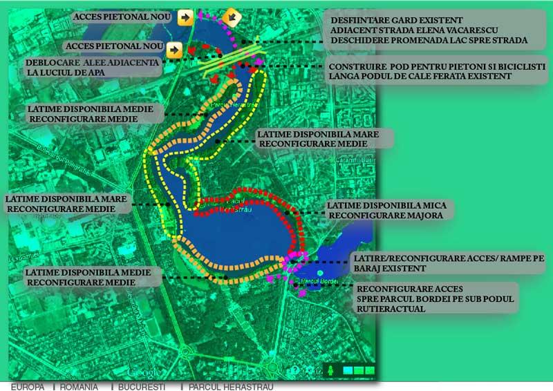 parcul herastrau schita si harta cu analiza latimiii malurilor si aleilor de promenada