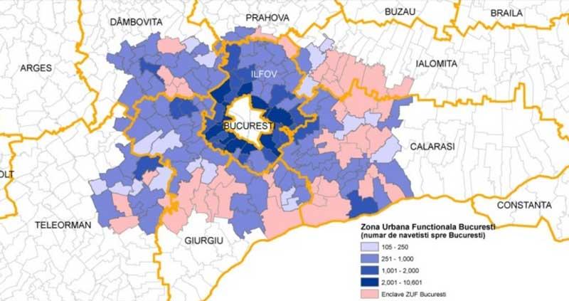 Autoritatea Metropolitana de Transport Bucuresti harta cu zona urbana functionala de transport Bucuresti